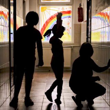 Kids in school silhouette